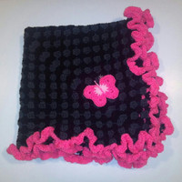 Simply Black Crotched with Pink Ruffel Blanket
