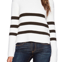 White Black Striped Knit Long Sleeve Sweater
