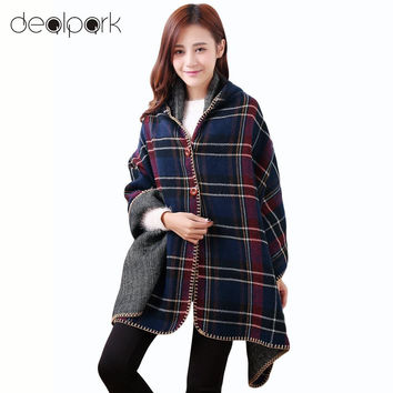 Women shawls and scarves Hooded Ponchos Capes Long Plaid Print Button Elegant Oversize Loose Pashmina Aztec Casacos Femininos