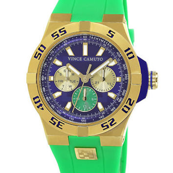 Vince Camuto Gold Tone Watch with Blue Dial and Green Silicon Strap
