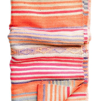 Bolivian Frazada Rug / Blanket, Orange Diamond Stripe
