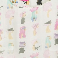 Pastel Cartoon Shift Organza Dress