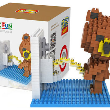 Funny Ted Peeing Building Blocks Child Educational Brown Bear Toy 350 Pcs