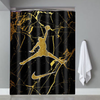 Hot Famous Michael Jordan Logo Gold Marble Custom Shower Curtain Limited Edition