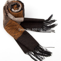 2014 New Designer Winter Cotton Cashmere Men Scarf  Brand  Stripe Scarves Scarfs  Man Scarf/daily Warm Shawl Wrap Black Muffler