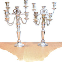Silver Candelabras 2 Tall Candelabras Vintage Silver Candlesticks Wedding Candelabra Shabby & Chic Candle Holder Paris Country French 19""