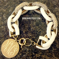 Monogrammed Glitter Chain Length Enamel Bracelet | Marley Lilly