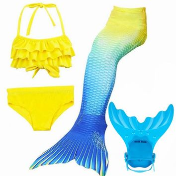4pcs/Set Girls Swimming Mermaid Tails with Flipper Children Ariel Bathing Suit Swimmable Mermaid Tail Costume Child Kids Girls