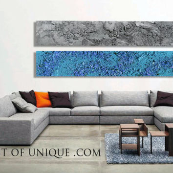 Industrial Abstract Painting - 2 panels CUSTOM (72 Inches x 15Inches) Metal Wall Art,  - blue, ,Steel, silver, Metal