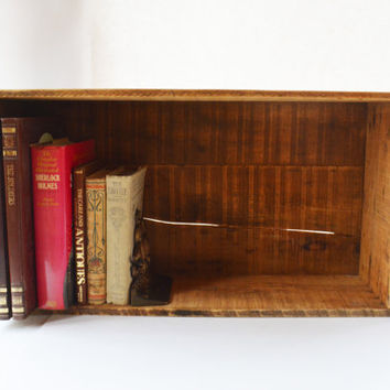 Wooden Box, Vintage Storage Box, Primitive Wooden Crate, Storage Bin, Rustic Book Shelf, Primitive Display Box, Wooden Storage Box