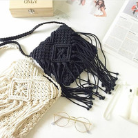 Summer Hippie Crochet fringe bag purse Cross-body Bag Crochet Beach bag Summer bag Cross body Purse Black Beach Summer Purse Hobo Festival.