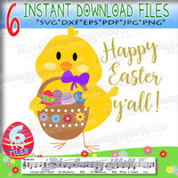Happy Easter y'all SVG - Easter Baby SVG  - Cute Newborn chick cut file -  Cut Files - DIY- Svg - Dxf- Eps - Png -Jpg - Pdf