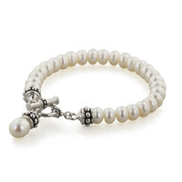 Honora Sterling Silver 7.5-8MM White Freshwater Cultured Pearl 7.75inch Pallini Toggle Bracelet
