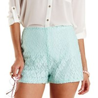 Mint Lace High-Waisted Shorts by Charlotte Russe