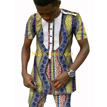 Custom Men Printed Short Sleeve Shirts And Cropped Trousers Fashion African Wax AQ12