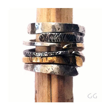 "RING ""Energy4"" in Sterling Silver and Gold metal, Modern, Hammered, Forged, Stackable, Organic, Rustic, Personalized."