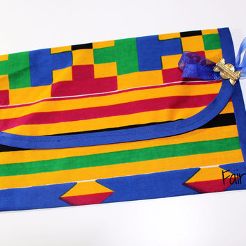 Diaper clutch Wipes holder Kente-Dessin