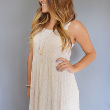 Rib Knit Tiered Dress Oatmeal