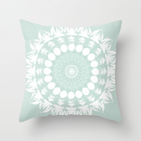 Baby Blue Mandala Throw Pillow by Mockingbird Avenue