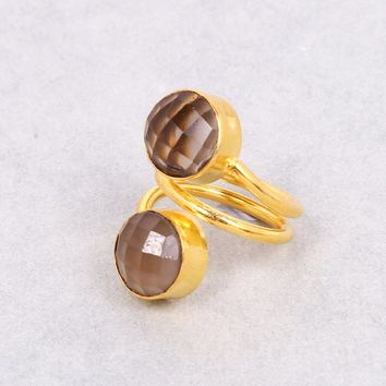 18K Gold Plated Ring, Smoky Quartz Ring, Round Gemstone Ring, Gold Vermeil Ring, Adjustment Ring, Statement Ring, Unique Gift For Women