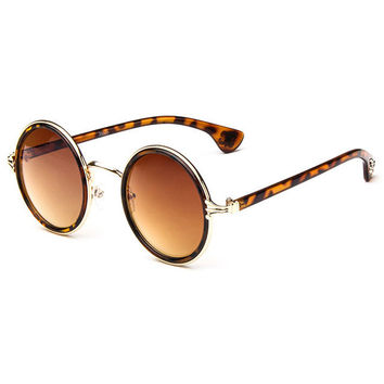 Leopard Rim Dark Brown Lense Vintage Sunglasses