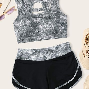 Cut Out Back Sports Bra & Shorts Set