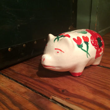 small hand painted ceramic piggy bank, floral, country, home decor, coin bank, folk art
