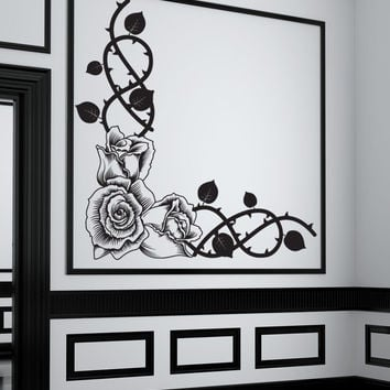 Vinyl Wall Decal Sticker Rose Corner #1199