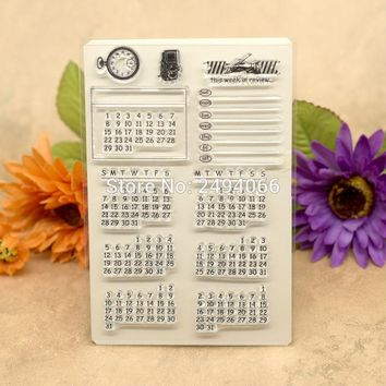 Calendar this week in review Scrapbook DIY photo cards account rubber stamp clear stamp transparent stamp 10x15cm 7022626