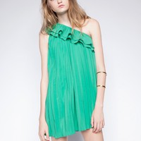 Green one shoulder ruffle dress - Shop the latest Fashion Trends