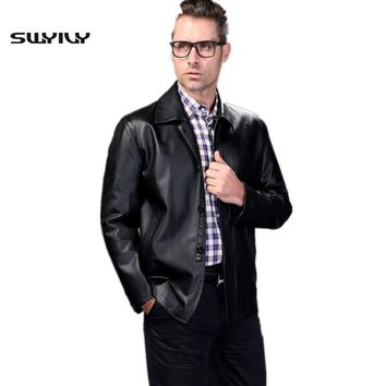 Sheepskin Leather Jacket Men's 2015 Spring And Autumn Single Breasted Casual Turn-Down Collar Button Genuine Leather Coat