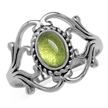 Cabochon Peridot White Gold Plated 925 Sterling Silver Victorian Style Rope Ring