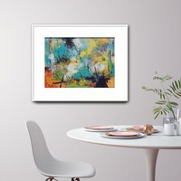Abstract Landscape Painting on Paper, Art on Paper, Mounted artwork, Blue and yellow, Colourful Art, 30x40cm Come Walk with me and touch sky
