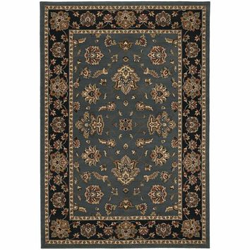 Ariana Blue Black Floral  Traditional Rug