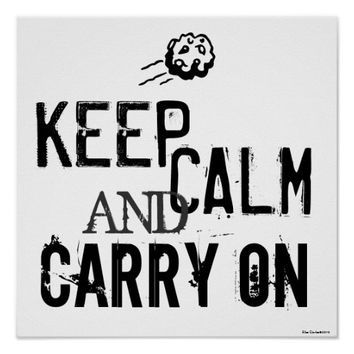 Black & White Keep Calm and Carry On Art Poster