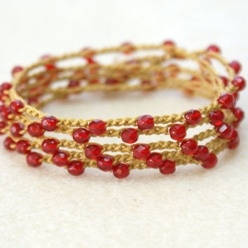 Pomegranate - boho crochet wrap bracelet or necklace, gold, red, ruby, boho chic, bohemian jewelry