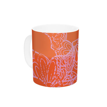 "Patternmuse ""Mandala Pumpkin"" Orange Pink Ceramic Coffee Mug"