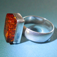 Vintage Sterling Silver Natural Amber Ring Cubic Form sz 6.5