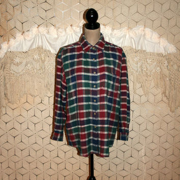 90s Grunge Long Sleeve Shirt Plaid Button Up Lumberjack Boyfriend Women Large XL Oversized Cotton Green Red Vintage Clothing Womens Clothing