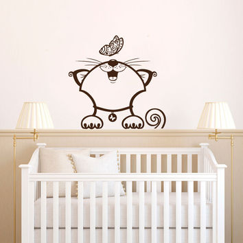 Kitten and Butterfly Silhouette Vinyl Wall Decal Sticker Graphic