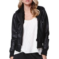 LA Hearts Fur Lined Bomber Jacket - Womens Jacket