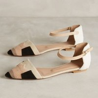 Hoss Intropia Color-Patched D'Orsay Flats Beige