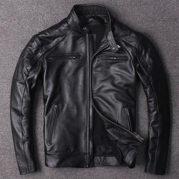 DHL Free .plus Eur size classic men cow leather Jackets men's genuine Leather biker jacket.Brand