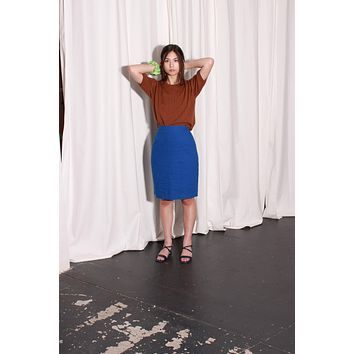 Cobalt Blue Linen Skirt / L