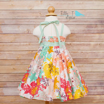 IN STOCK 18-24 Month Toddler Sundress with Bow and Circle Skirt. Mint and Coral Floral Print Designer Fabric