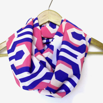 Blue Pink Mod Geo Infinity Scarf // Peach Skin Fabric // Pink and Blue // Spring // For Her // Graduation // Geometric // Mod Print //