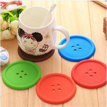 DCCKL72 1pcs Silicone Cup mat Cute Colorful Button Cup Coaster Cup Cushion Holder Drink Cup Placemat Mat Pads Coffee Pad