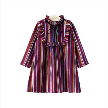 Baby Girls Dress 2017 New Autumn Fashion Children Girls Clothes Long Sleeve Vintage stripe Cotton toddler Kids Dresses vestido