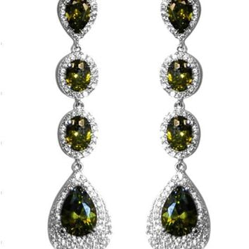 Chloey Olive Green Linear Long Chandelier Earrings | Cubic Zirconia | Silver
