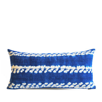 vibrant indigo vintage shibori mud cloth lumbar pillow